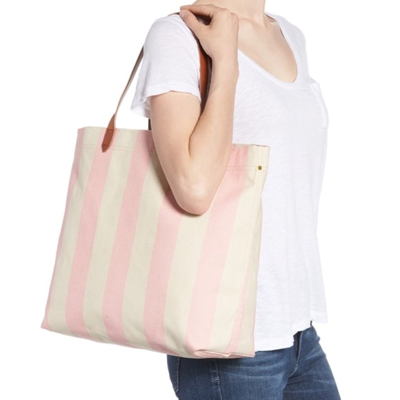 c41ebd695a9f7 Madewell Canvas Transport Tote in Pink Stripe NWT